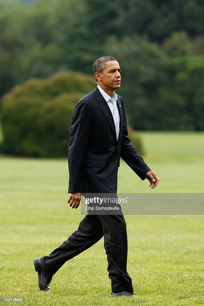 U.S. President Barack Obama walks across the White House South Lawn after arriving from an overnight trip to the Gulf Coast June 15, 2010 in Washington, DC. This was Obama's fourth trip to the region affected by the BP Deepwater Horizon explosion and oil spill since the disaster started eight weeks ago. Obama will address the nation on television tonight about the spill.