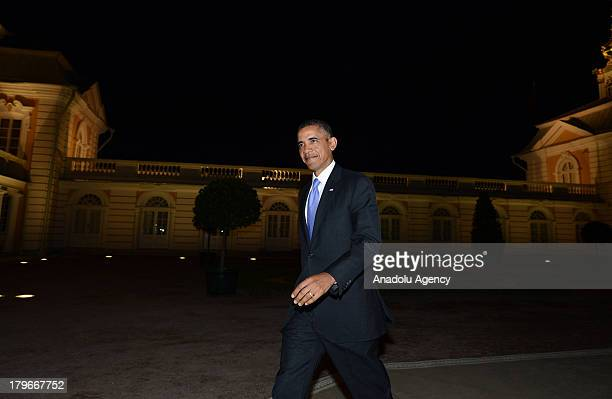 President Barack Obama walks alone for the dinner with other G-20 leaders at Peterhof Palace in Saint Petersburg, Russia on Thursday, September 5,...