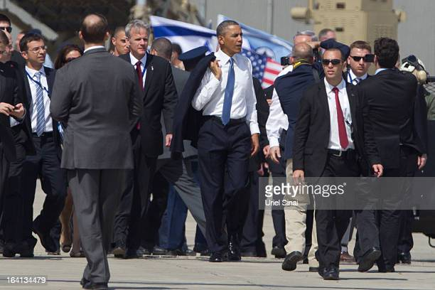 President Barack Obama walks away after visiting an Iron Dome missile battery at the Ben Gurion Airport on March 2013 near Tel Aviv, Israel. This...