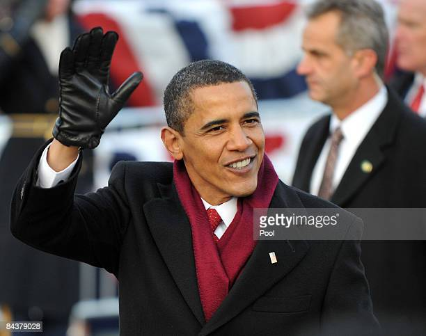 President Barack Obama walks in the Inaugural Parade on January 20 2009 in Washington DC Obama was sworn in as the 44th President of the United...