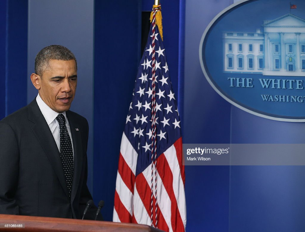 U.S. President Barack Obama walks into the Brady Briefing Room to speak to the media at the White House on November 21, 2013 in Washington, DC. President Obama said that he supports the Senate Democrats' decision to change filibuster rules to make it easier for approval of judicial appointments.