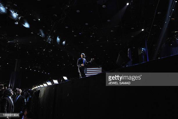 US President Barack Obama walks off the stage following his victory speech on election night November 6 2012 in Chicago Illinois President Barack...