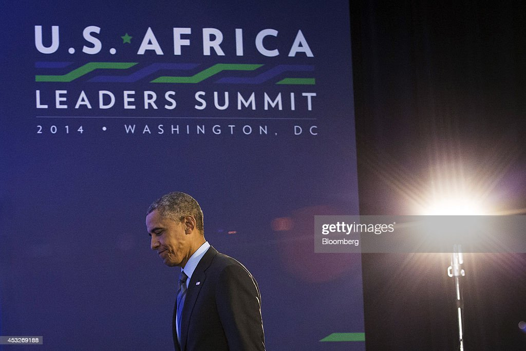 U.S. President Barack Obama walks on stage during a news conference at the U.S.-Africa Leaders Summit at the State Department in Washington, D.C., U.S., on Wednesday, Aug. 6, 2014. President Barack Obama said Africa represents a great opportunity for American companies to expand their investments, as the U.S. competes with China to tap some of the worlds fastest growing economies. Photographer: Drew Angerer/Bloomberg via Getty Images