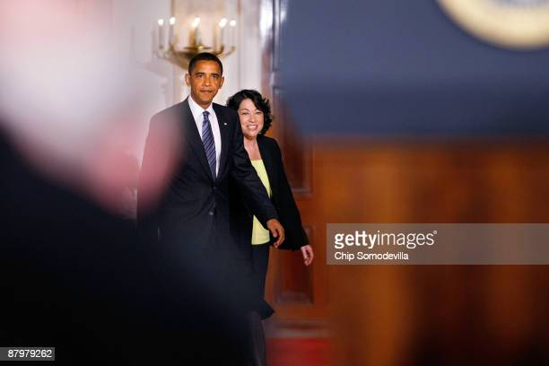 S President Barack Obama walks out to announce federal Judge Sonia Sotomayor is his choice to replace retiring Justice David Souter on the Supreme...