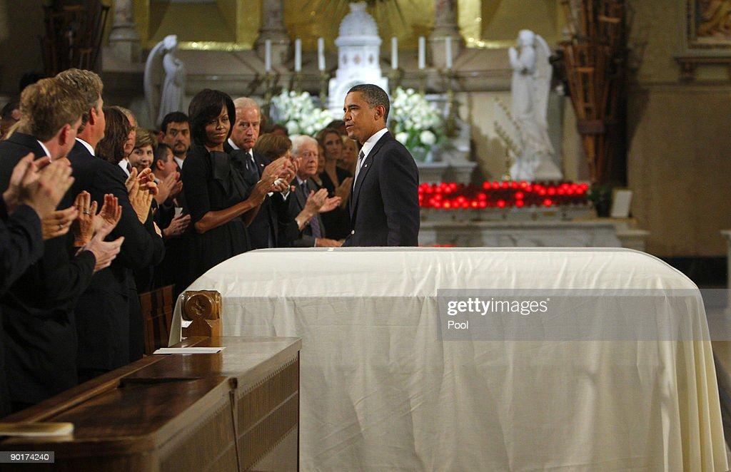 Senator Edward Kenedy Casket: President Barack Obama Walks Past The Casket Of U.S