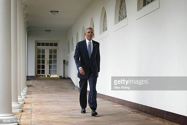 S President Barack Obama walks through the Colonnade at the White House January 12 2016 in Washington DC President Obama will give his 7th and the...