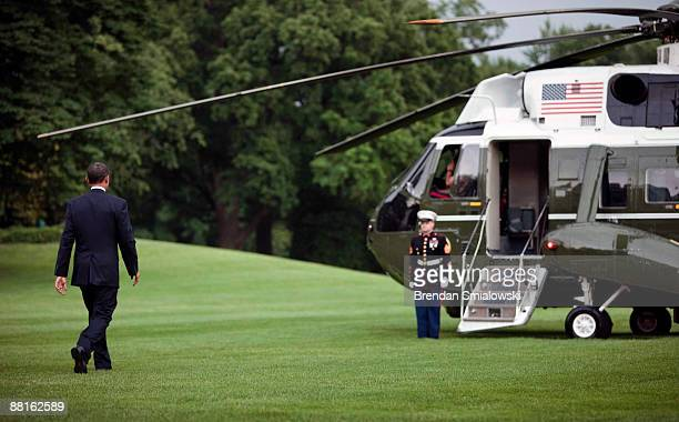 S President Barack Obama walks to Marine One on the South Lawn of the White House June 2 2009 in Washington DC President Obama is traveling to Saudi...