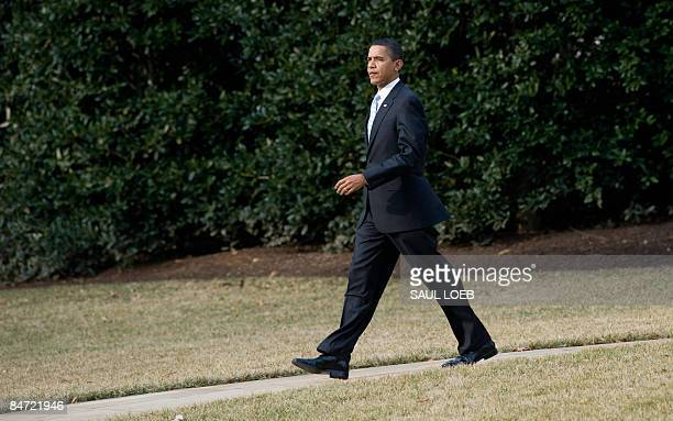 President Barack Obama walks to Marine One prior to departure from the South Lawn of the White House in Washington, DC, February 10, 2009. Obama is...