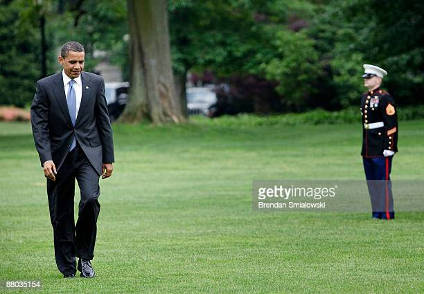 President Barack Obama walks to the West Wing from the South Lawn of the White House May 28 2009 in Washington DC President Barack Obama plans on...