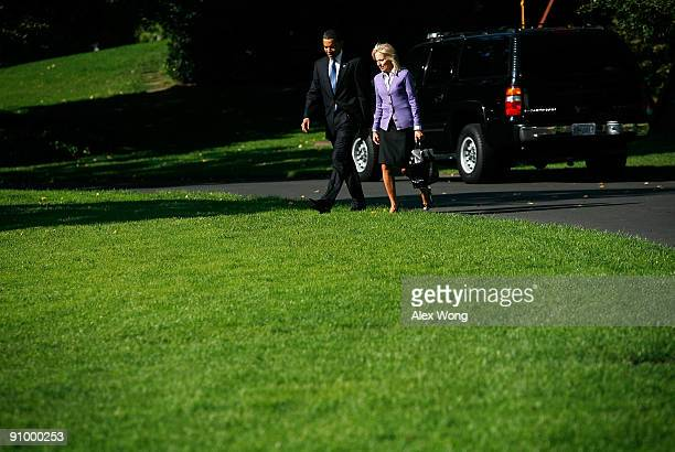 S President Barack Obama walks towards Marine One with Vice President Joseph Biden's wife Jill Biden prior to their departure from the White House...