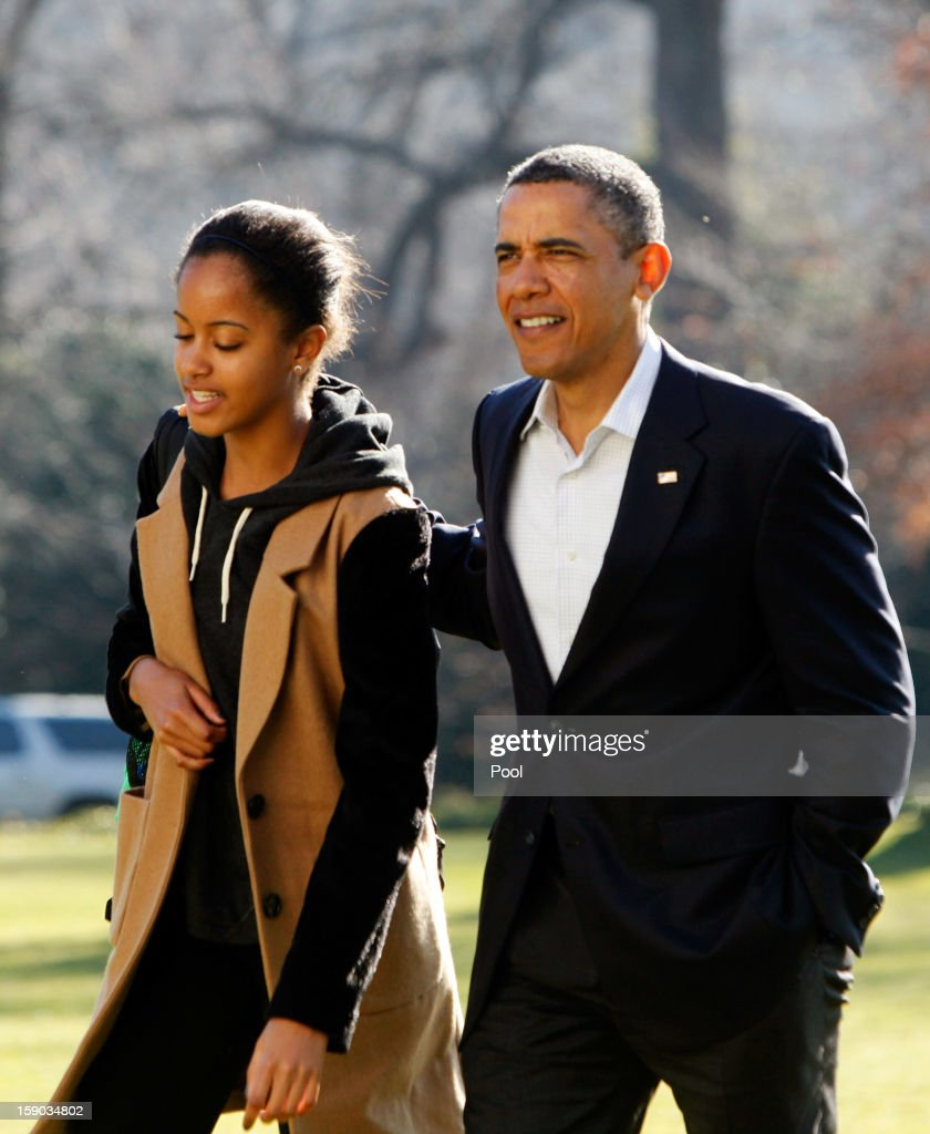 U.S. President Barack Obama walks with daughter Malia from Marine One to the White House on January 6, 2013 in Washington, DC. Obama is expected to dominate Chuck Hagel, a Republican and former U.S. senator from Nebraska, to succeed Defense Secretary Leon Panetta.