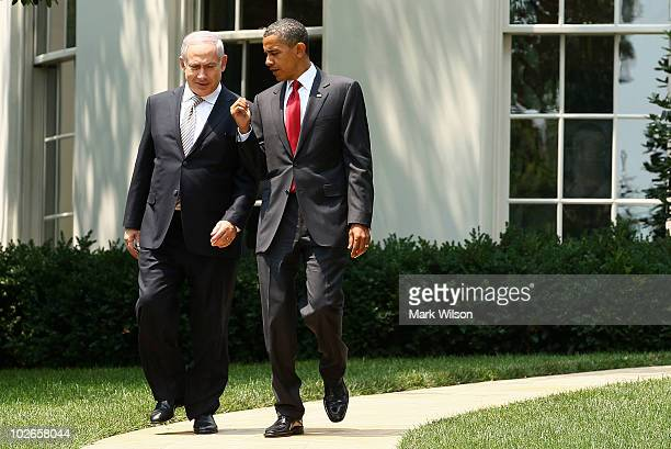 US President Barack Obama walks with Israeli Prime Minister Benjamin Netanyahu as he departs the White House on July 6 2010 in Washington DC The two...