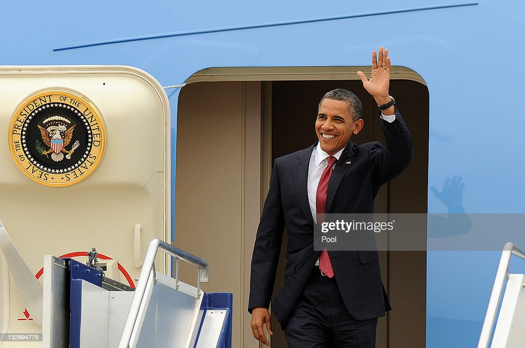 U.S. President Barack Obama waves after arriving at Fairbairn Defence Establishment on the first day of his 2-day visit to Australia, on November 16, 2011 in Canberra, Australia. The President will today receive a Cermeonial Welcome, attend a bi-lateral meeting and hold a joint media conference with Julia Gillard, and attend a Parliamentary Dinner this evening, before addressing Parliament and heading to Darwin tomorrow.