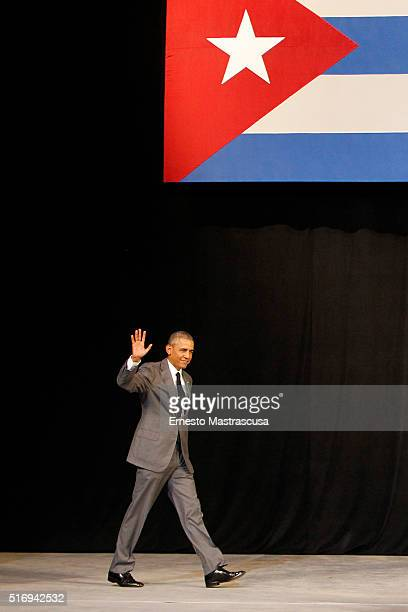 S President Barack Obama waves after delivering remarks at the Gran Teatro de la Habana Alicia Alonso in the hisoric Habana Vieja or Old Havana...