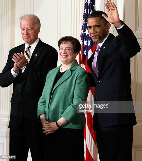 President Barack Obama waves as he is joined by Vice President Joe Biden while introducing Solicitor General Elena Kagan as his choice to be the...