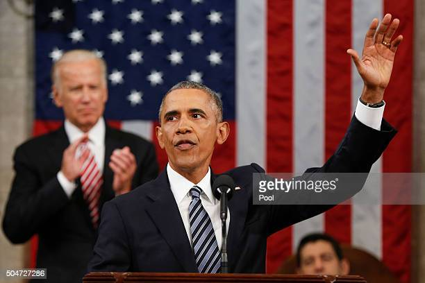President Barack Obama waves at the conclusion of his State of the Union address to a joint session of Congress on Capitol Hill January 12 2016 in...