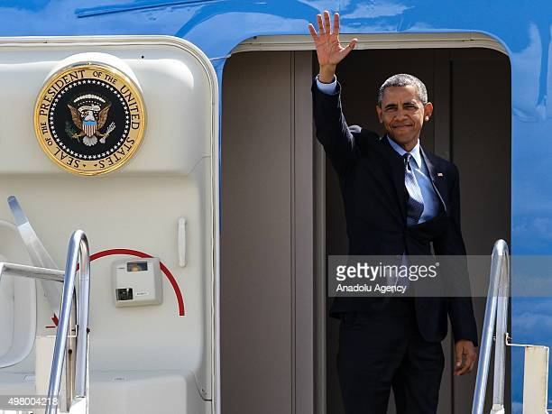 President Barack Obama waves before he boards the Air Force One for his departure at the Ninoy Aquino International Airport Balagbag Ramp on Friday...