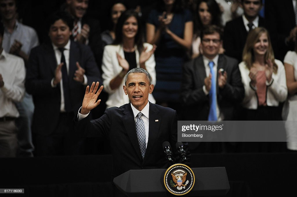 U.S. President Barack Obama waves during a town hall event at Usina de las Artes in Buenos Aires, Argentina, on Wednesday, March 23, 2016. Obama became the first U.S. president to visit Argentina in more than a decade as his counterpart, Mauricio Macri, seeks a rapprochement with the international community following a decade of financial and diplomatic isolation. Photographer: Diego Levy/Bloomberg via Getty Images
