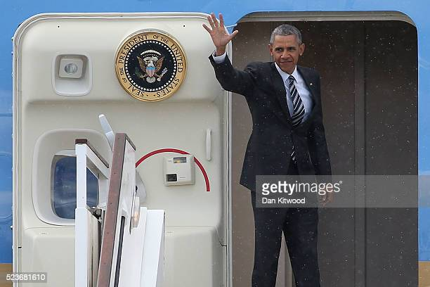 President Barack Obama waves from the steps of Air Force One as he prepares to depart Stansted Airport after a four day visit to the UK on April 24...