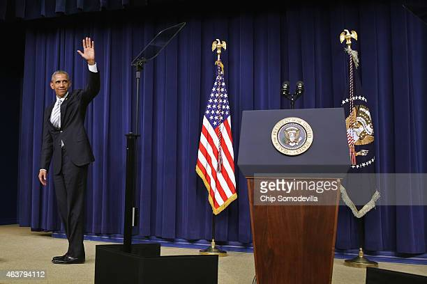 S President Barack Obama waves goodbye after delivering closing remarks at the conclusion of the White House Summit on Countering Violent Extremism...