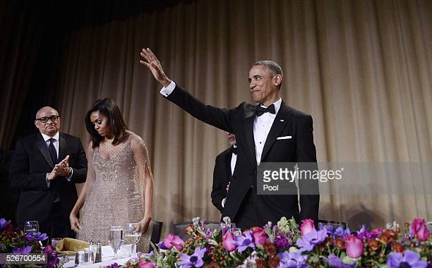 President Barack Obama waves to the audience after speaking at the White House Correspondents' Association annual dinner on April 30 2016 at the...