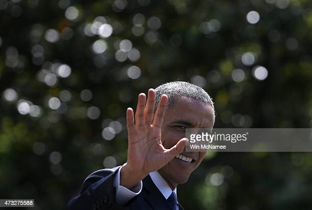 S President Barack Obama waves while departing the White House on May 14 2015 in Washington DC Obama was scheduled to travel to Camp David for a...