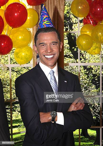 President Barack Obama wax figure seen during a celebration of President Barack Obama's first birthday in office at Madame Tussauds on August 4 2009...