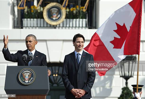 S President Barack Obama welcomes Canadian Prime Minister Justin Trudeau during a an arrival ceremony on the South Lawn of the White House March 10...