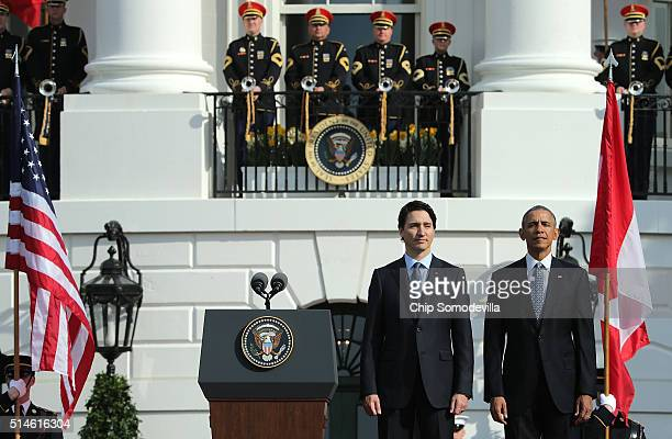 S President Barack Obama welcomes Canadian Prime Minister Justin Trudeau during an arrival ceremony on the South Lawn of the White House March 10...
