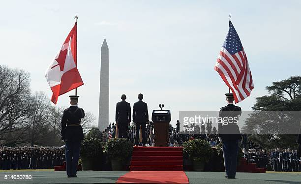 President Barack Obama welcomes Canadian Prime Minister Justin Trudeau Trudeau to the White House for an Official Visit March 10 2016 in Washington...