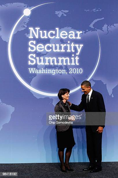S President Barack Obama welcomes President of the Swiss Confederation Doris Leuthard to the start of the Nuclear Security Summit at the Washington...