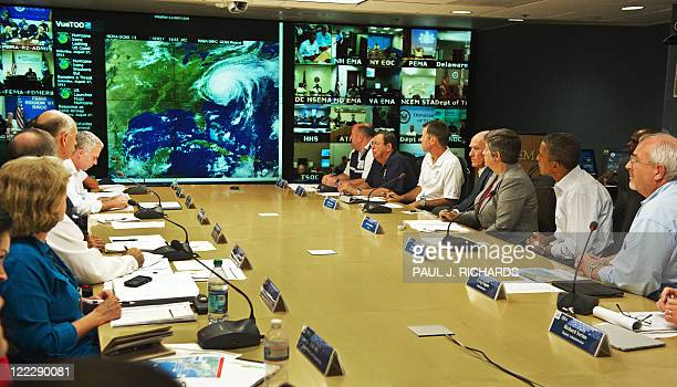 President Barack Obama with Federal Emergency Management Agency Administrator Craig Fugate and US Secretary of Homeland Security Janet Napolitano ,...