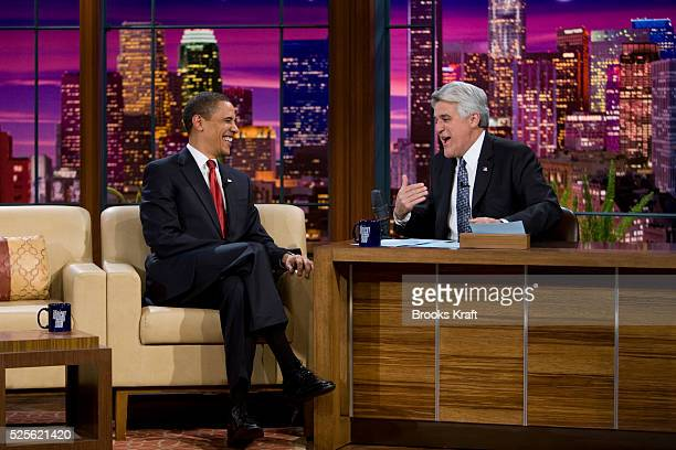 President Barack Obama with host Jay Leno on the NBC late night comedy show 'The Tonight Show with Jay Leno' in Burbank California