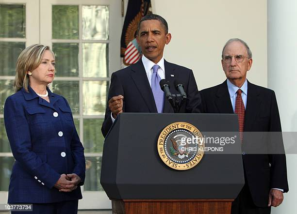 US President Barack Obama with Secretary of State Hillary Clinton and Middle East Special Envoy Senator George Mitchell speaks in the Rose Garden on...