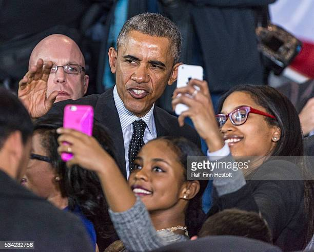 President Barack Obama works the crowd at Gwendolyn Brooks College Prep on the South Side of Chicago Illinois In addition to speaking the President...