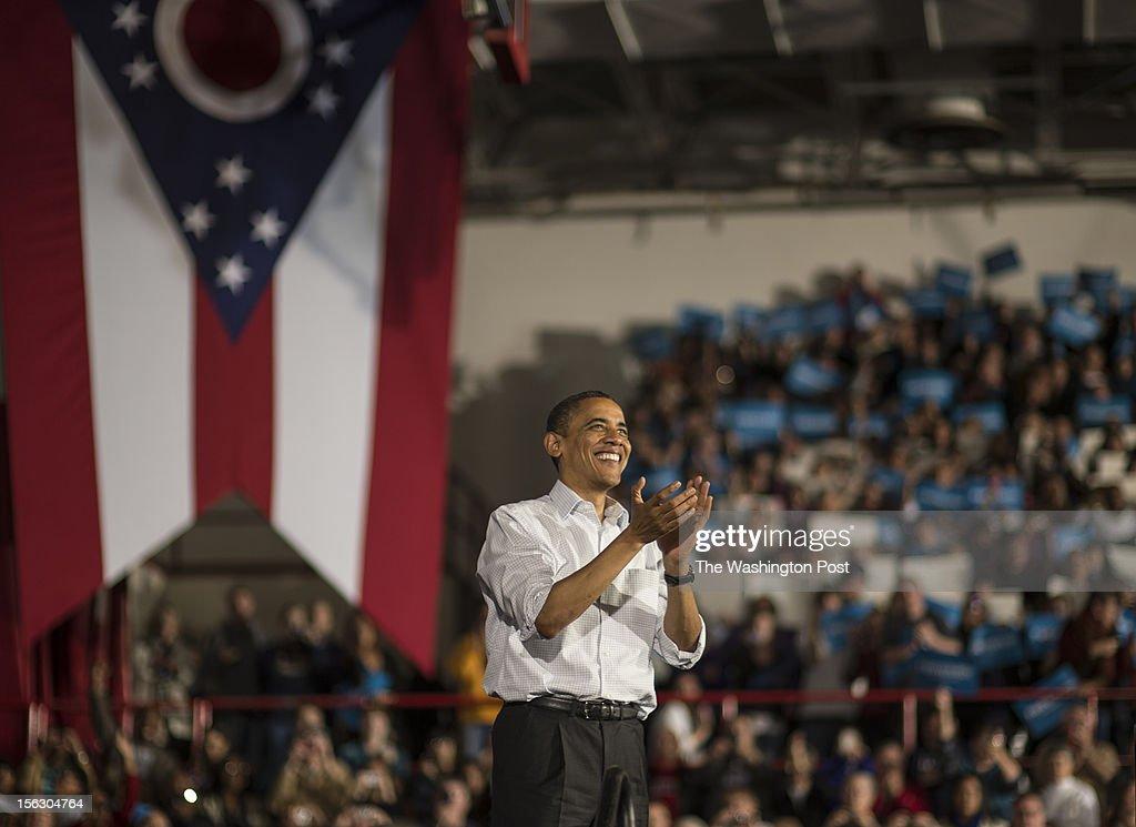 President Barack Obama campaigns in Ohio : News Photo