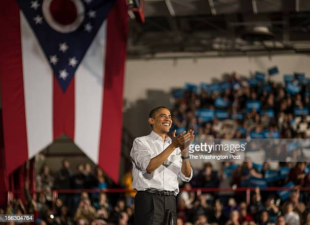 NOVEMBER 3 President Barack Obama wraps up his speech during a campaign stop in Mentor Ohio on Saturday November 3 2012
