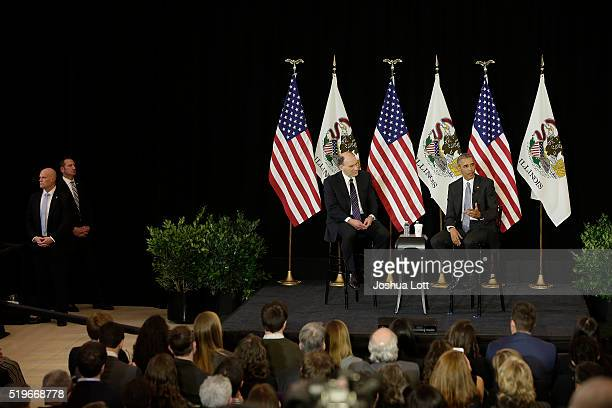 President Barack Obamaright speaks to the University of Chicago Law School with Law Professor David Strauss on April 7 2016 in Chicago Illinois Obama...