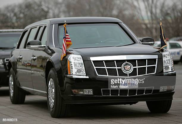 S President Barack Obama's armored Cadillac limousine sits at the US Capitol on March 17 2009 in Washington DC President Obama was attending a lunch...