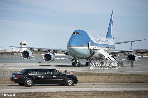 US President Barack Obama's armored limo drives to Air Force One at ClevelandHopkins International Airport on March 18 2015 in Cleveland Ohio AFP...