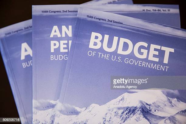 President Barack Obama's fiscal 2017 budget that was delivered to Congress at the Capitol today in Washington USA on February 9 2016
