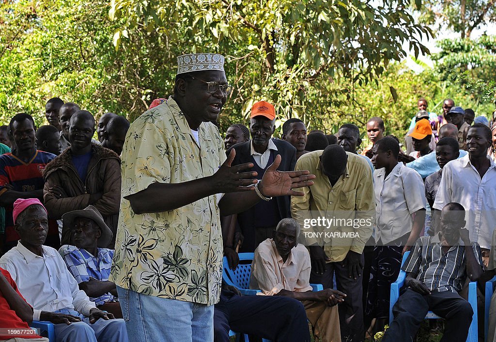 President Barack Obama's Kenyan half brother, Malik Obama adresses supporters on January 16, 2013 near Nyang'oma in Kogelo, now renowned as the Obama's traditional home. Malik has launched his own political career by announcing his intention to run for a Kenyan gubernatorial seat in the upcoming March 4 general elections. Malik, 54, who shares a father with the US president told AFP that the achievements of his more famous half brother have 'inspired and challenged' him to get into active politics in his homeland. The trained economist said he is the right candidate to deal with the 'endless cycle of poverty and unemployment that bedevils my people.' . AFP PHOTO/Tony KARUMBA