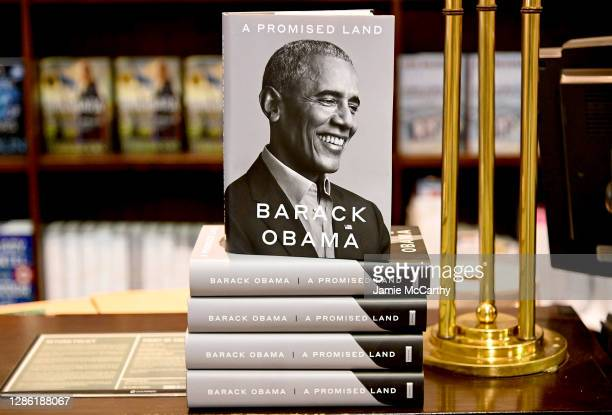 "President Barack Obama's memoir ""A Promised Land"" goes on sale ahead of the holiday season at Barnes & Noble Union Square on November 17, 2020 in New..."