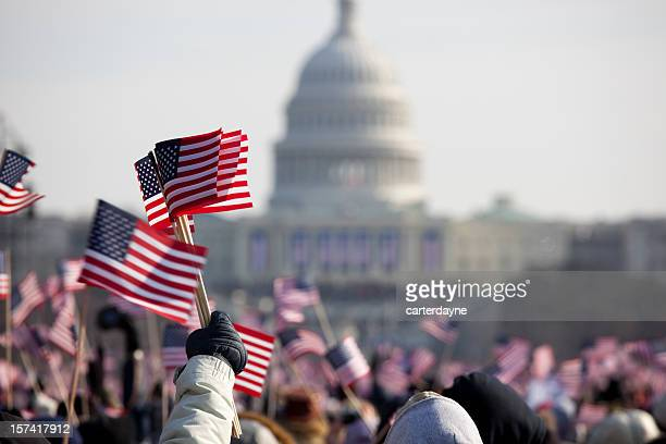 president barack obama's presidential inauguration at capitol building, washington dc - patriotic stock pictures, royalty-free photos & images