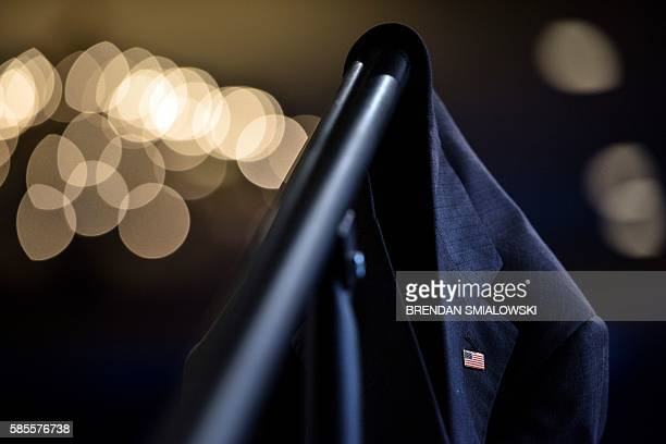 US President Barack Obama's suit jacket is seen as he speaks at the Presidential Summit of the Mandela Washington Fellowship for Young African...