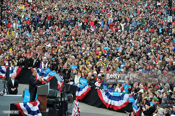 US President Barack Obamaspeaks during a campaign rally in Madison Wisconsin on November 5 2012 After a grueling 18month battle the final US campaign...