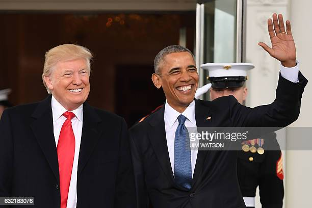 President Barack Obamawelcomes Presidentelect Donald Trump to the White House in Washington DC January 20 2017 / AFP / JIM WATSON