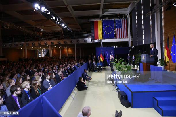 US President Barack_Obama holds his keynote speech in the presence of the German Chancellor Angela Merkel on 25 April 2016 at Hanover Fair