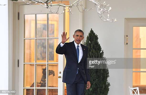 President Barak Obama leaves the White House for the final time as President as the nation prepares for the inauguration of Presidentelect Donald...