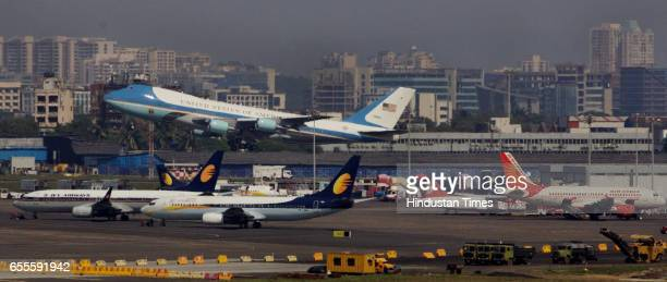President Barrack Osamas Air Force One to depart for New Delhi from Chattrapati Shivaji International airport Mumba